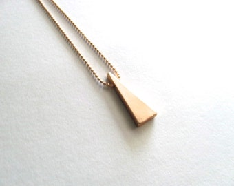 Tiny gold triangle on 14k gold plated chain, geometric jewelry