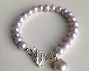 Lilac Freshwater Pearl Beaded Bracelet with Sterliing Silver Toggle Clasp and Pearl Charm