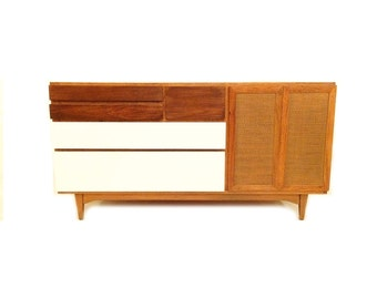 Vintage Modern Buffet In Wood and White