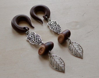 Silver Perched Owl Drop Gauged Earring Plugs with Mini Log Beads