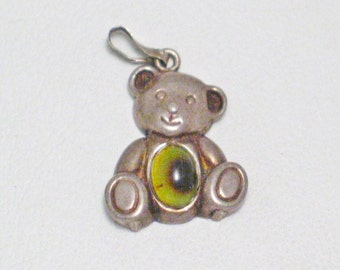 Sterling silver bear charm pendant 2D traditional vintage teddy bear stone type belly love comfort theme bracelet charm / necklace pendant
