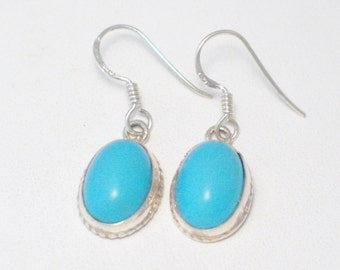 925 sterling silver persian blue turquoise baby blue oval drop dangle earrings french hook post piereced womens outfit  casual or formal