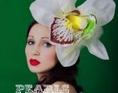 fascinator hummingbird giant ivory orchid flower glitter summer bridal wedding royal ascot hair accessory headpiece handmade green bird