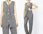 90s Vest and Pants Set Matching Outfit Womens Pinstripe Suit Two Piece Pantsuit Top and Trousers Minimalist High Waist Slouchy Pants S E353