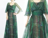 1970s Sheer Forest Nymph Evening Gown Green Cape Watercolor Floral Maxi Dress Disco Goddess Theatre Artsy Boho Festival Dress (S/M)