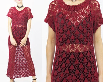 Vintage Crochet Knit Dress 90s  Boho Knitted Dress Granny Burgundy Dark Red Hand Knitted Dress Grunge Crochet Knit Sweater Dress (S/M)