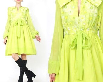 1960s Floral Empire Waist Dress Lime Green Mini Dress Hippie Boho Floral Embroidered Dress Neon Babydoll Chiffon Sheer Sleeves Dress (M/L)