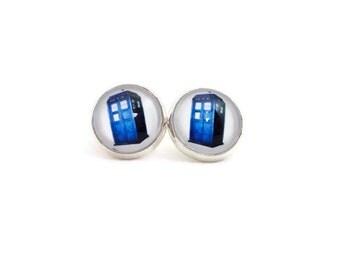 Blue Phone Booth Earrings, Fun Earrings for Teens, Stocking Stuffers for Teen Girls, Unusual Earrings, Tween Earrings, Teen Jewelry