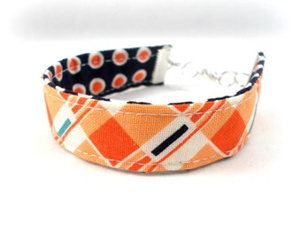 Tween Jewelry, Orange and Blue Bracelet, Gifts for Tween Girls, Plaid Dots Reversible Fabric Bracelet, Cute Bracelets, Teen Bracelets Preppy