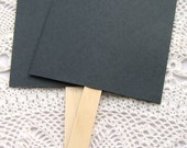 20 ct. Pre-Assembled Black Blank DIY Wedding Program Cardstock Fans with Wooden Handles - 5-1/2 x 9""