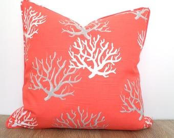 Coral pillow cover 20x20 beach house decor, gray and coral cushion case ,coastal pillow piping, nautical pillow sham college dorm decor