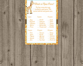 Giraffe What's in your purse/Giraffe Baby Shower Game/Zoo jungle baby shower game/Printable giraffe purse game
