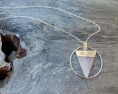 Geometric Necklace Rose Quartz Necklace Triangle Necklace Rose Quartz Jewelry Boho Chic Jewelry Rose Quartz Pendant DyNamo Modern Jewelry