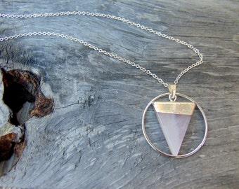 Geometric Necklace Rose Quartz Necklace Triangle Necklace Rose Quartz Jewelry Boho Chic Jewelry Rose Quartz Pendant DyNamo Modern Jewelry