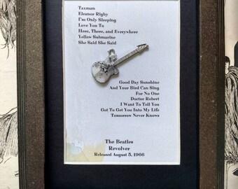 The Beatles Framed Mini Revolver Guitar Charm with Album Tracks Altered Art John Lennon Ringo Starr Paul McCartney George Harrison