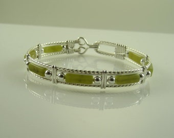 WSB-0178 New Jade Gemstone Handmade Bangle Bracelet Wire Wrapped with Sterling Silver Wire