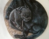 Custom Order, for Sally, Pet Portaits on stone by Shelli Bowler