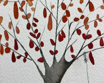 Whimsical watercolor tree, original, red  and orange leaves, autumn, children's art, nursery art, nature, simple, star, red and grey