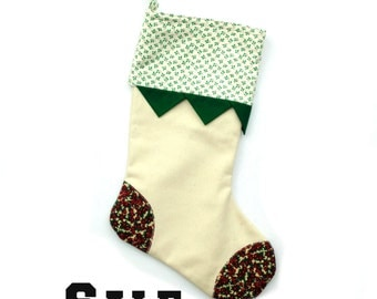 Christmas stocking, family stocking, red green and white cotton, patchwork stocking, Christmas decor, rustic handmade Christmas sock