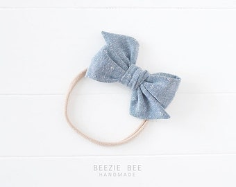 """The Sunday Bow in """"Chambray"""" - Hand Tied Fabric Bow - Babies, Toddlers, Girls - Nylon Headband or Clip"""
