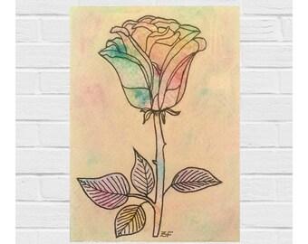 Original Mixed Media Art / Original Art / Original Painting / Rose Painting / Ink Drawing / Acrylics and Ink / Floral Art