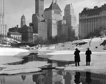 New York City Winter Central Park Snow Buildings Reflection Ice Lake 1930s Manhattan Skyscrapers Black White Vintage Photography Photo Print