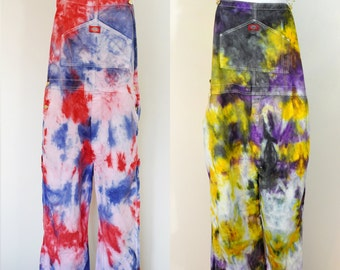 CUSTOM DYED Bib Overall Pants - Multi Color Red Blue Violet Dye Adult Youth Overalls - Waist 30, 32, 34, 36, 38, 40, 42, 44, 46, 48, 50