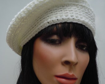 Beret, French Beret, White Hat, White Beanie, Crocheted Hat, Soft White Cap