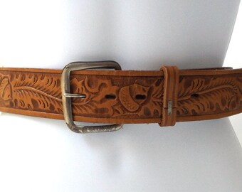 vintage 70's backstock brown leather tooled belt sz 40 men women fashion clothing hippie boho retro acorn leaves leaf thick nature texas usa