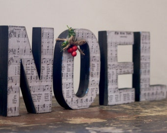 Noel Wooden Letters with Sheet Music Print The First Noel