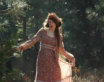 Vintage 1970s Boho Maxi Dress... Gunne Sax Style... Sheer Sleeves... Floral Print