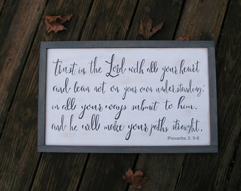 Trust in the Lord with all your heart | Distressed Wood Sign | Proverbs | Rustic handpainted custom sign |Vintage style wood wall art sign