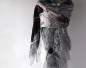 Nuno Felted  scarf,  Grey  felted scarf,  warm winter stole, warm wool scarf, Greey Black white women felt shawl by Galafilc