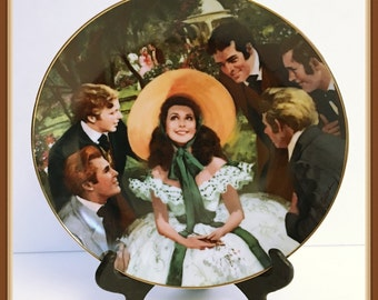 Vintage Scarlett and Her Suitors Display Plate, Gone with the Wind, COA, by Howard Rogers, Bradex, 1988, Fine China, Wall Hanger Included