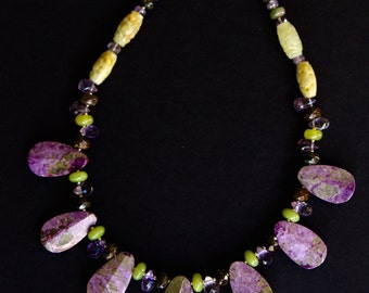 Stichite Serpentine Teardrop Necklace Rare Purple Lavender and Green Stones w Amethyst Serpentine and Bronzite Colorful Gemstone Jewelry
