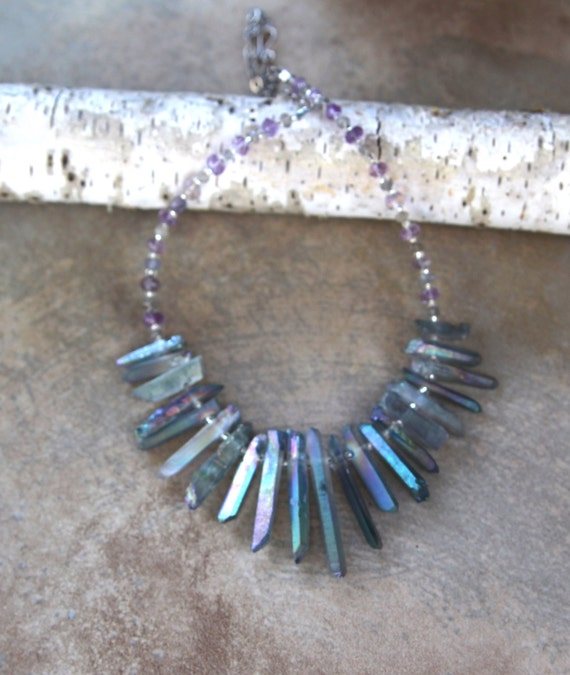 Lavender Crystal Spike Necklace Soft Blue Grey AB Quartz Points with Amethyst and Labradorite Pastel Shimmer Summer Bridal Jewelry