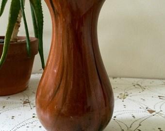 Vintage 1970s Wood Grain Inspired Ceramic Vase
