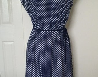 Vintage 1980s Polka Dot Striped Dress with Ruffle Collar