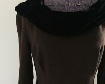 Vintage 1960s Neiman Marcus Wool Dress with Velvet Collar