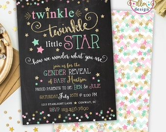 Twinkle Twinkle Little Star, Gender Reveal Invite, Gender Reveal Party, Blue or Pink, Chalkboard, DIY, Printable or Printed, Gender Reveal