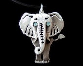 Sterling Silver Elephant necklace, elephant pendant, elephant jewelry, whimsical jewelry, animal necklace, elephant necklace gift