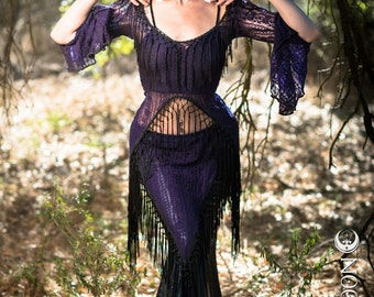 "SPECIALTY/Limited Edition: The ""Saloon Girl"" Willow Set in Purple Orchid Lace with Black Fringe by Opal Moon Designs (Size S, M, L)"