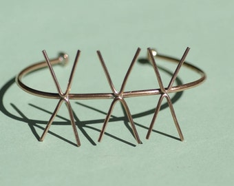 Solid Copper Cuff Bracelet with 4 Prongs - Three Claws for Jewelry Making Supplies
