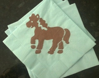 Blue and Brown Pony Paper Cocktail/ Lunch/ Dinner Napkins