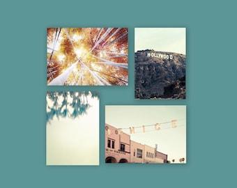 SALE, California Prints, 4 Photo Set, Mint Green, Gold, Beach Decor, Set 4 Prints, Venice Beach, Hollywood Sign