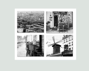 Black and White Paris Photography, 4 Photo Set, Rustic, Neutral, Bedroom Decor, Paris Travel Photo- Save up to 50%