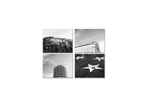Los Angeles Photography Set of 4 Prints in Black & White - Hollywood Photos - California Prints