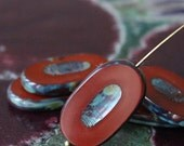 Large Oval  Picasso Beads - Jewelry Making - Table Cut Czech Glass Beads - 26x15mm (2 or 10 beads) Brick Red