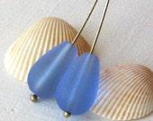 16x10mm Seaglass Beads - Long Drill Sea Glass Teardrop Beads - Jewelry Making Supply  10x16mm Beach Glass - Sapphire