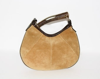 Vintage YVES SAINT LAURENT Rive Gauche Small Tan Suede Mombasa Horn Bag -Authentic-